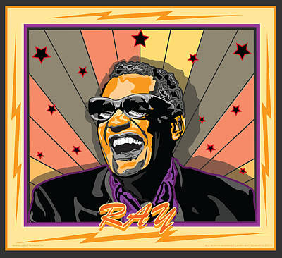 Ray Charles Art Print by Larry Butterworth