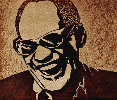 Ray Charles Original Coffee Painting Art Print by Georgeta  Blanaru