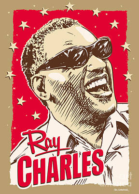 African-american Digital Art - Ray Charles Pop Art by Jim Zahniser