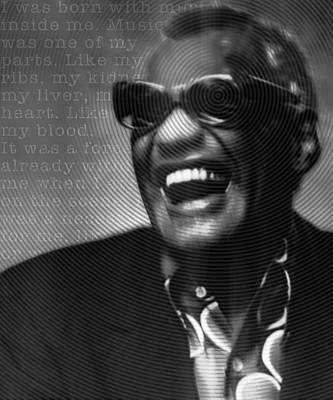 Ray Charles Robinson And Quote Black And Gray Art Print by Tony Rubino