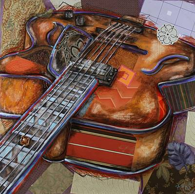 Mixed Media - Ray The Guitar by Katia Von Kral