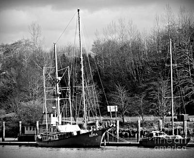 Photograph - Raymond Fishing Boats Bw by Chalet Roome-Rigdon