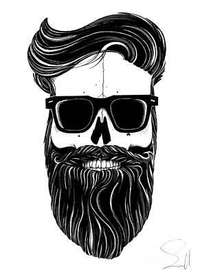 Ballpoint Drawing - Ray's Black Bearded Skull  by Nils Leemans