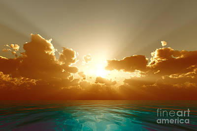 Sunset Digital Art - Rays In Golden Clouds by Aleksey Tugolukov