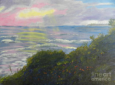 Rays Of Light At Burliegh Heads Art Print by Pamela  Meredith