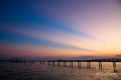 Rays Over Biloxi Bay Print by Joan McCool