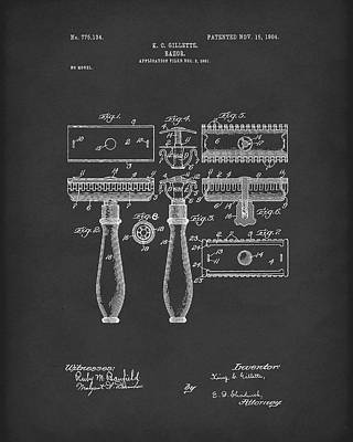 1904 Drawing - Razor 1904 Patent Art Black by Prior Art Design