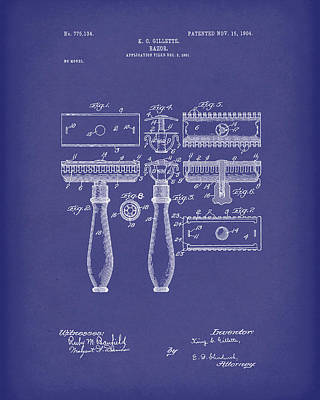 Drawing - Razor 1904 Patent Art Blue by Prior Art Design