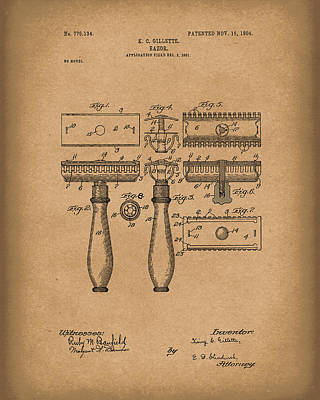 1904 Drawing - Razor 1904 Patent Art Brown by Prior Art Design