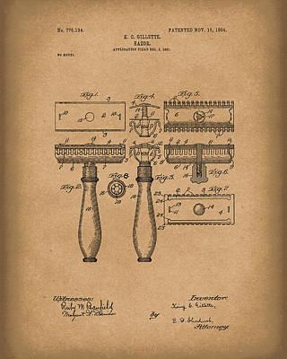 Razor 1904 Patent Art Brown Art Print by Prior Art Design