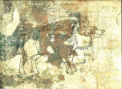 Razorback Drawing - Cave Painting 2 by Larry Campbell
