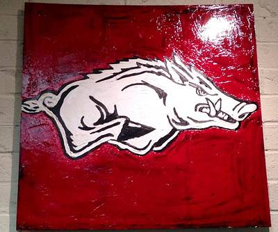 University Of Arkansas Painting - Razorback Painting Art by Dawn Bearden