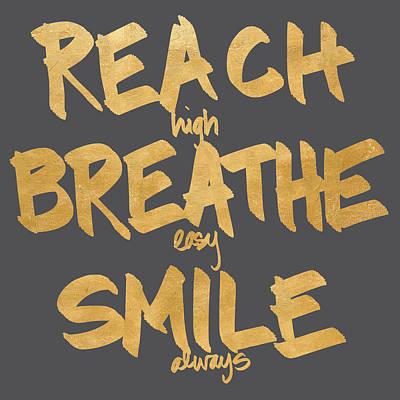 Breathe Digital Art - Reach, Breathe, Smile by South Social Studio
