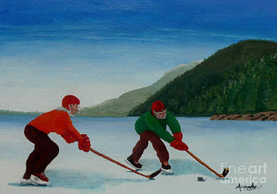 Pond Hockey Painting - Reach For It by Anthony Dunphy