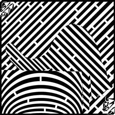 Trippy Maze Art Drawing - Reaching Cat Maze Op Art by Yonatan Frimer Op Art Mazes