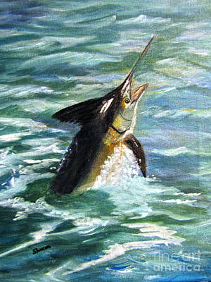 Salt Water Game Fish Painting - Reaching For The Sky by Sharon Burger