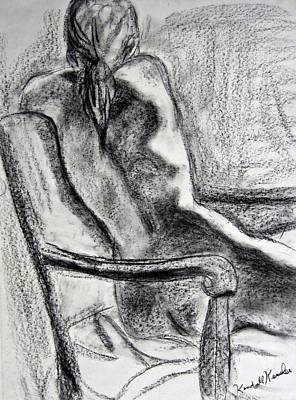 Black Drawing - Reaching Out by Kendall Kessler