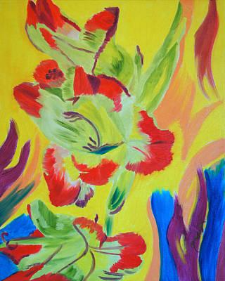 Gladiola Painting - Reaching Up by Meryl Goudey