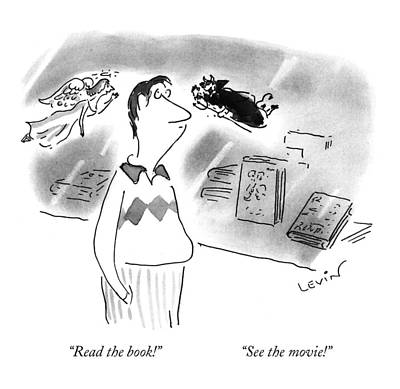 Bookshop Drawing - Read The Book! See The Movie! by Arnie Levin