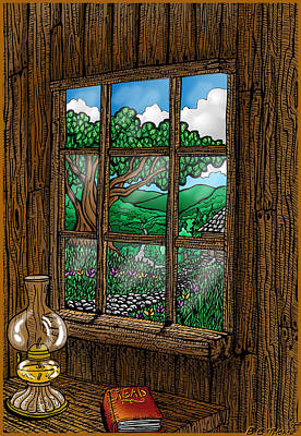 Cabin Window Drawing - Read by Thome Designs