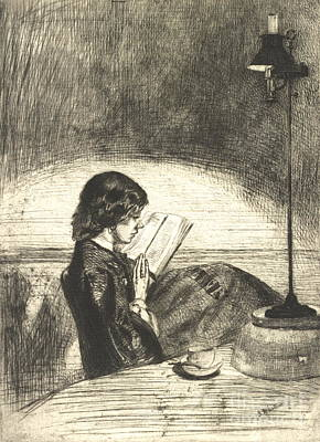 Drypoint Photograph - Reading 1859 by Padre Art