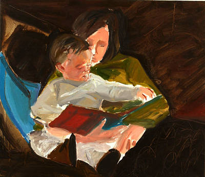 Woman Holding Baby Painting - Reading by Daniel Clarke