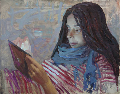 Painting - Reading A Letter by Korobkin Anatoly