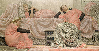 Tempera Painting - Reading Aloud by Albert Joseph Moore