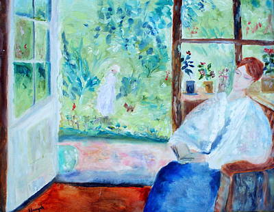 Painting - Reading By The Garden by Aleezah Selinger