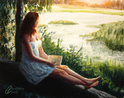 Clarks Hill Lake Painting - Reading By The Lake by Christopher Clark