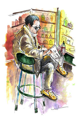 Painting - Reading El Pais And Drinking Rioja In Spain by Miki De Goodaboom
