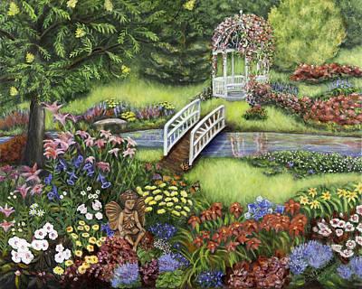 Begonia Garden Painting - Reading Fairy Garden by Gail Darnell