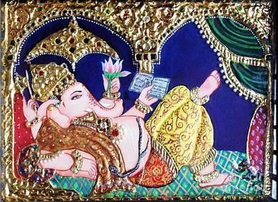 Painting - Reading Ganesha by Jayashree