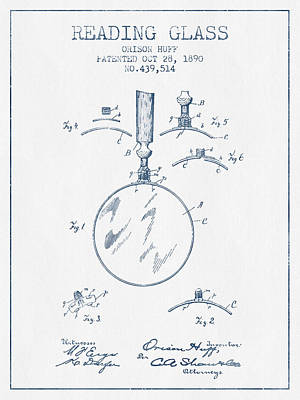 Reading Glass Patent From 1890- Blue Ink Art Print by Aged Pixel