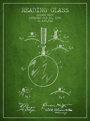 Glass Wall Digital Art - Reading Glass Patent From 1890 - Green by Aged Pixel