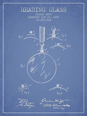 Glass Wall Digital Art - Reading Glass Patent From 1890 - Light Blue by Aged Pixel