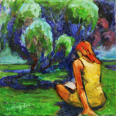 Painting - Reading In A Park by Xueling Zou