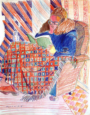 Drawing - Reading In A Warm Chair by Mark Lunde