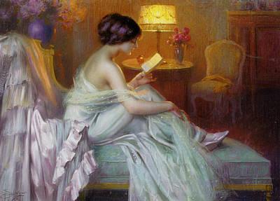 Reading In Lamp Light Print by Delphin Enjolras