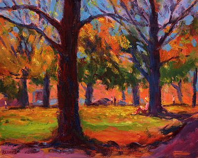 Reading In The Park Art Print by Vernon Reinike