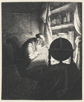 Candle Lit Drawing - Reading Man With Glasses In A Study Room by Jan Gillisz. Van Vliet