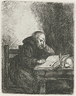 Human Skull Drawing - Reading Monk, David Van Der Kellen II by David Van Der Kellen Ii