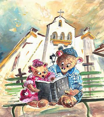 Reading The Bible In La Iruela In Spain Print by Miki De Goodaboom