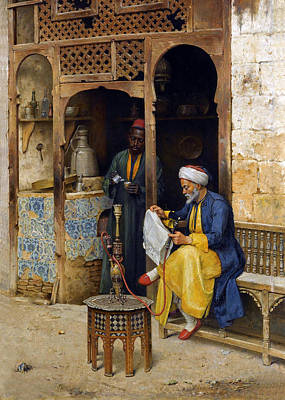 Orientalists Photograph - Reading The Newspaper by Munir Alawi