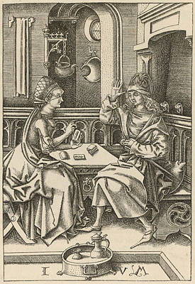 Tarot Drawing - Reading The Tarot A 15th Century by Mary Evans Picture Library
