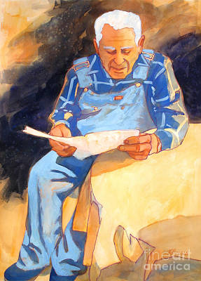 White Shirt Painting - Reading Time by Kathy Braud