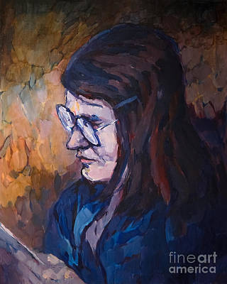 Painting - Reading Woman by Lutz Baar