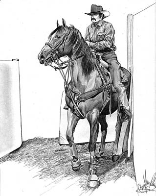 Rodeo Art Drawing - Ready For Action by Cheryl Poland