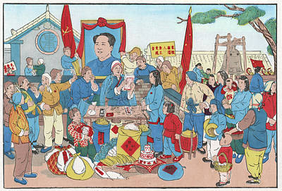Mao Zedong Wall Art - Drawing - Ready To Submit A Production Report by Mary Evans Picture Library