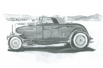 Salt Flats Drawing - Real Car Guy...real Car by Stacey Becker